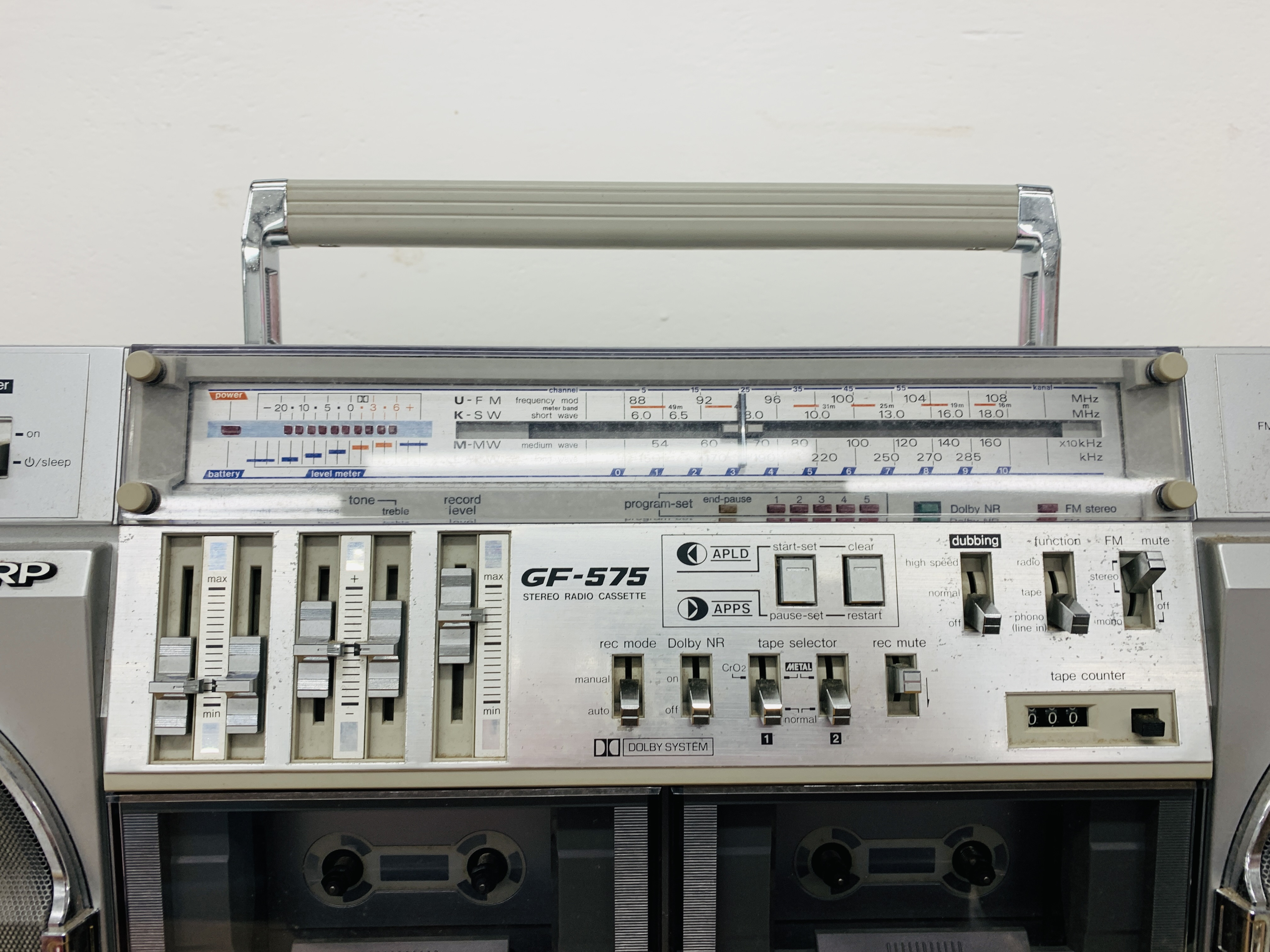 SHARP DELUXE FH / SW / MW / LW 4 BAND STEREO RADIO CASSETTE TAPE RECORDER GF- 575E WITH ORIGINAL - Image 5 of 8