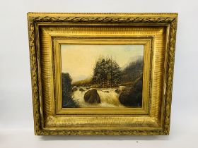 C19TH OIL ON CANVAS OF WATERFALL BEARING INITIAL W.T.J. DATED 1885 36 X 46 CM.