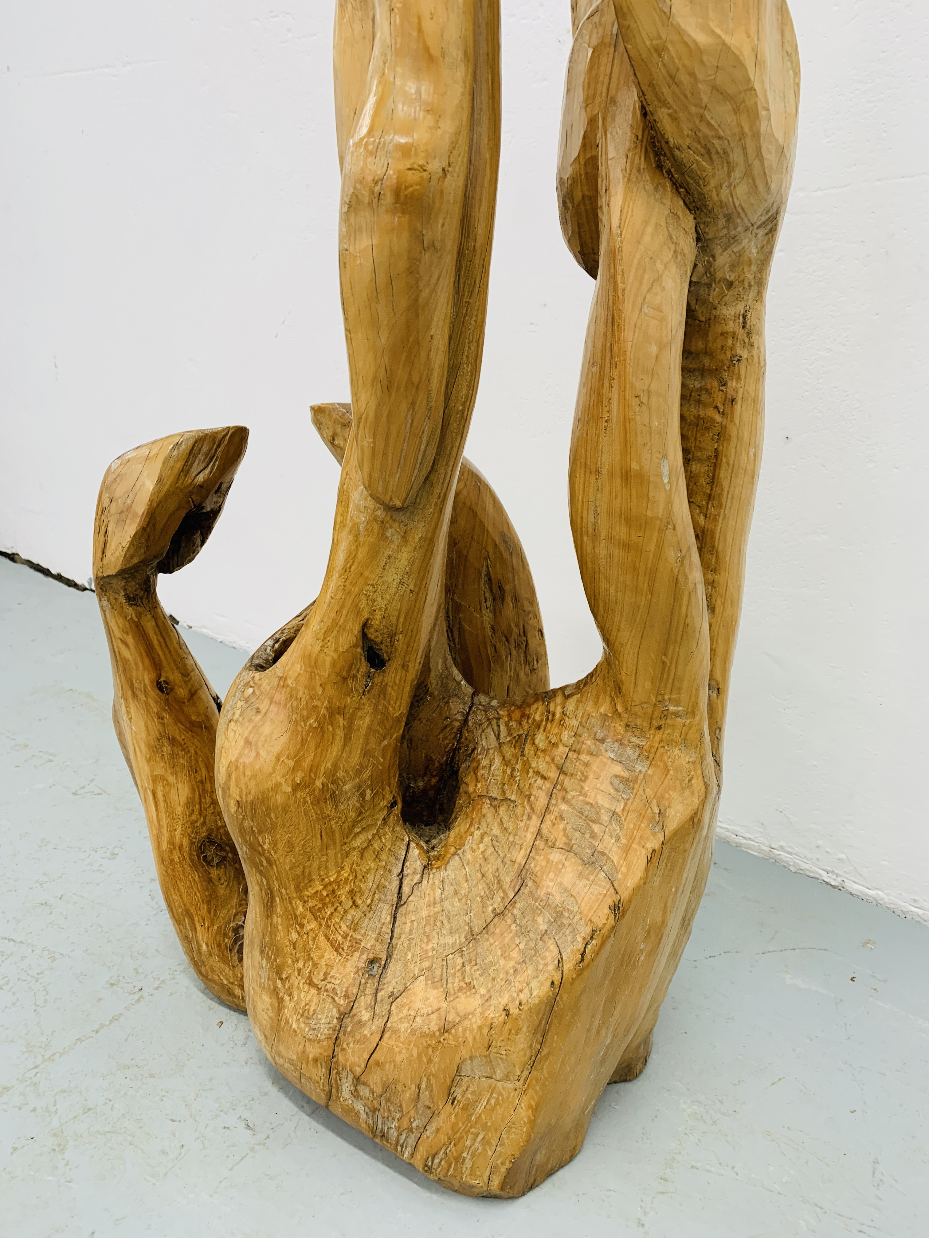 """A HARDWOOD ABSTRACT SCULPTURE """"FAMILY"""" BY P.T. - Image 5 of 9"""