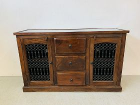 A RUSTIC HARDWOOD COUNTRY & EASTERN STYLE DRESSER BASE,