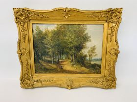 ATTRIBUTED TO OBADIAH SHORT OIL ON CANVAS 30 X 41CM - A COUNTRY LANE WITH A FIGURE