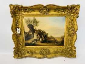 OIL ON CANVAS OF HARVEST SCENE WITH FIGURES SEATED BY A TREE, BEARING SIGNATURE WILLIAM I.