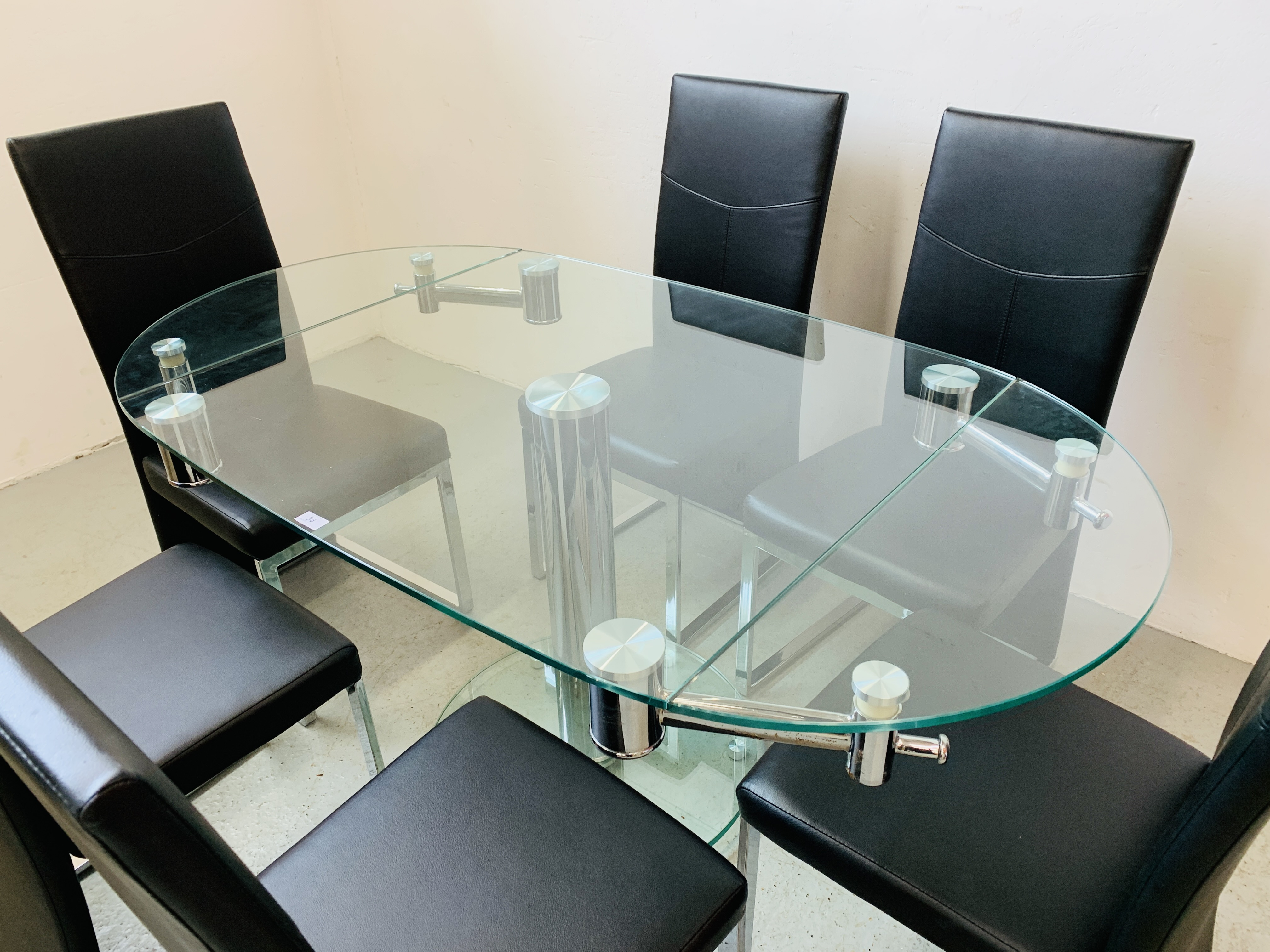 A DESIGNER GLASS AND CHROME PEDESTAL DINING TABLE WITH SET OF SIX CHROME FRAMED LEATHERETTE DINING - Image 3 of 17