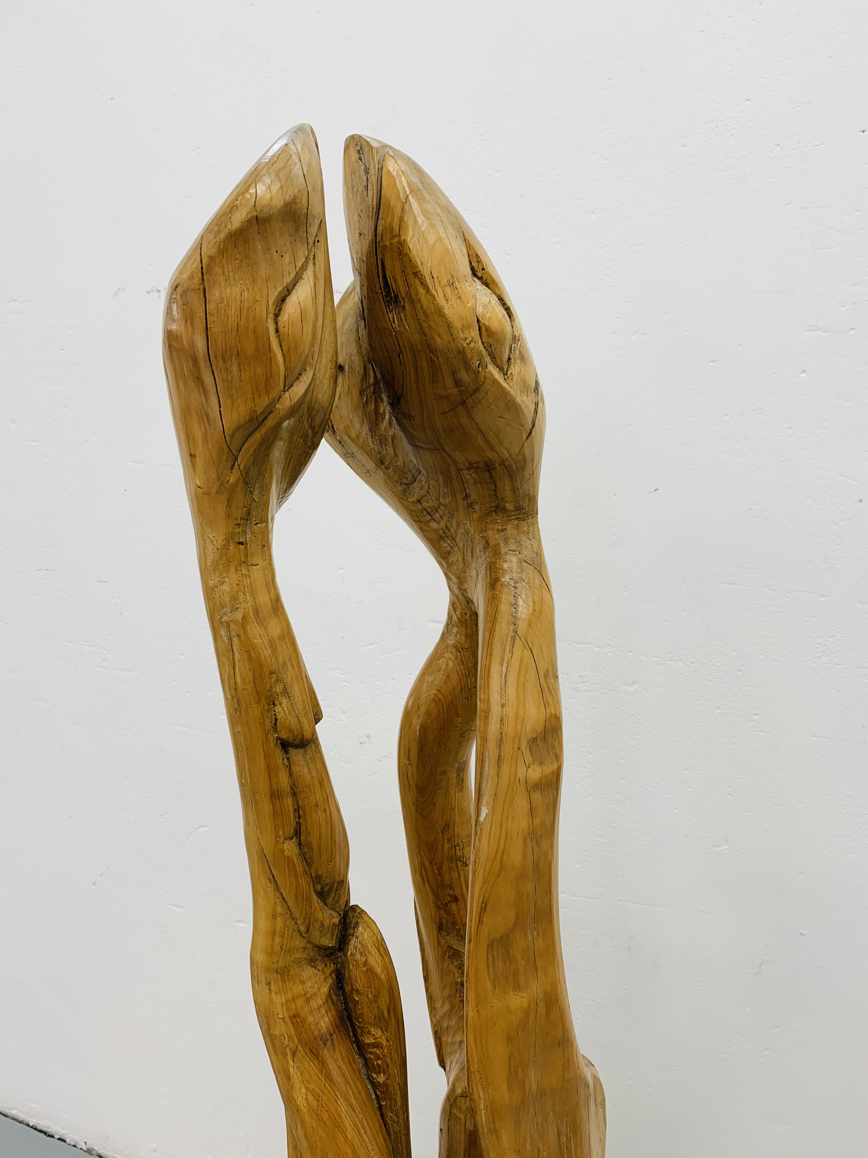 """A HARDWOOD ABSTRACT SCULPTURE """"FAMILY"""" BY P.T. - Image 3 of 9"""