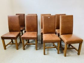 A SET OF EIGHT TAN LEATHER UPHOLSTERED DINING CHAIRS (A/F)