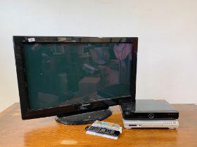 PANASONIC VIERA 37 INCH TV, BUSH DVD PLAYER, HUMAX FREEVIEW BOX.