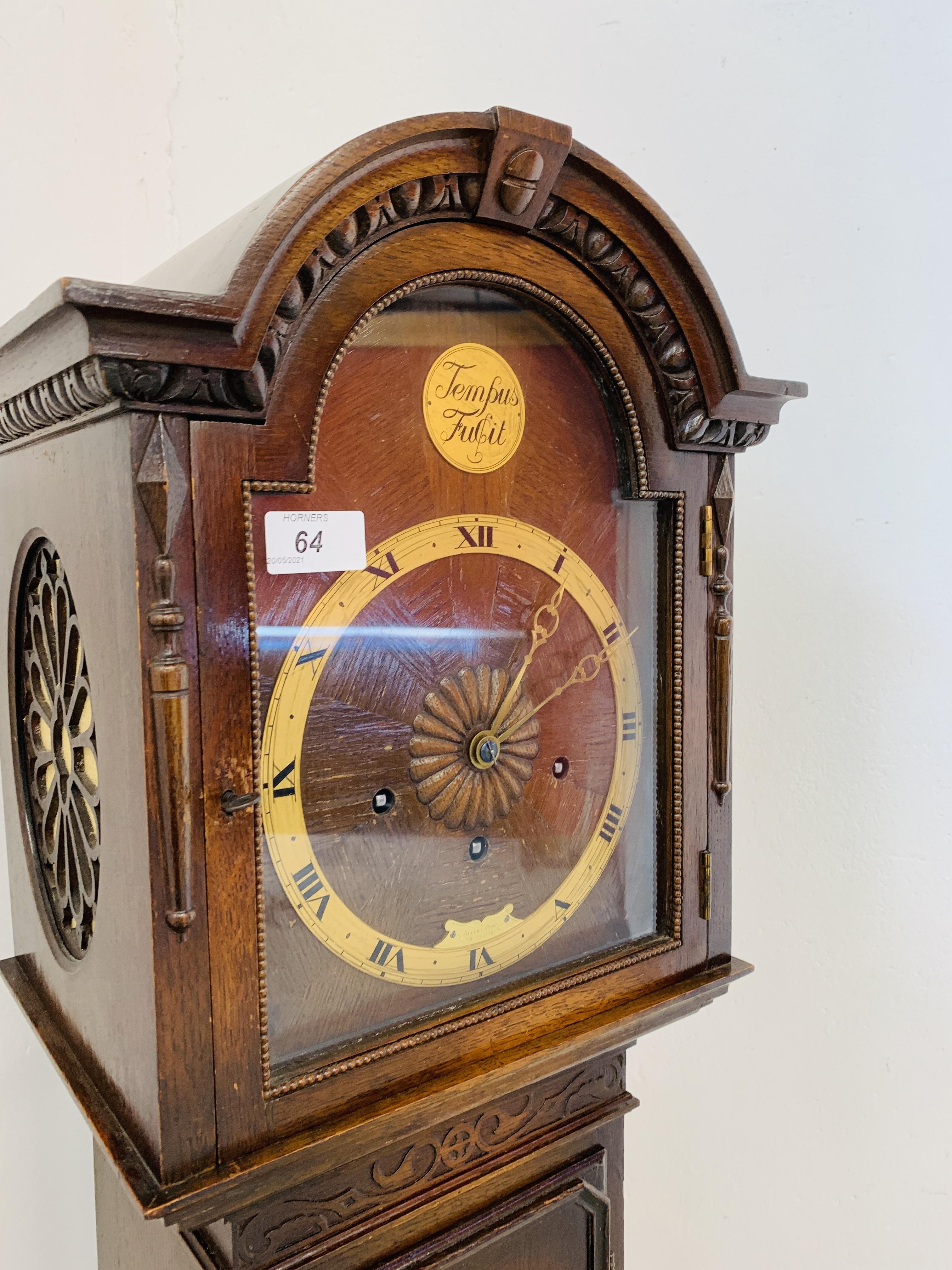A 1940'S OAK CASED GRANDMOTHER CLOCK, - Image 7 of 12