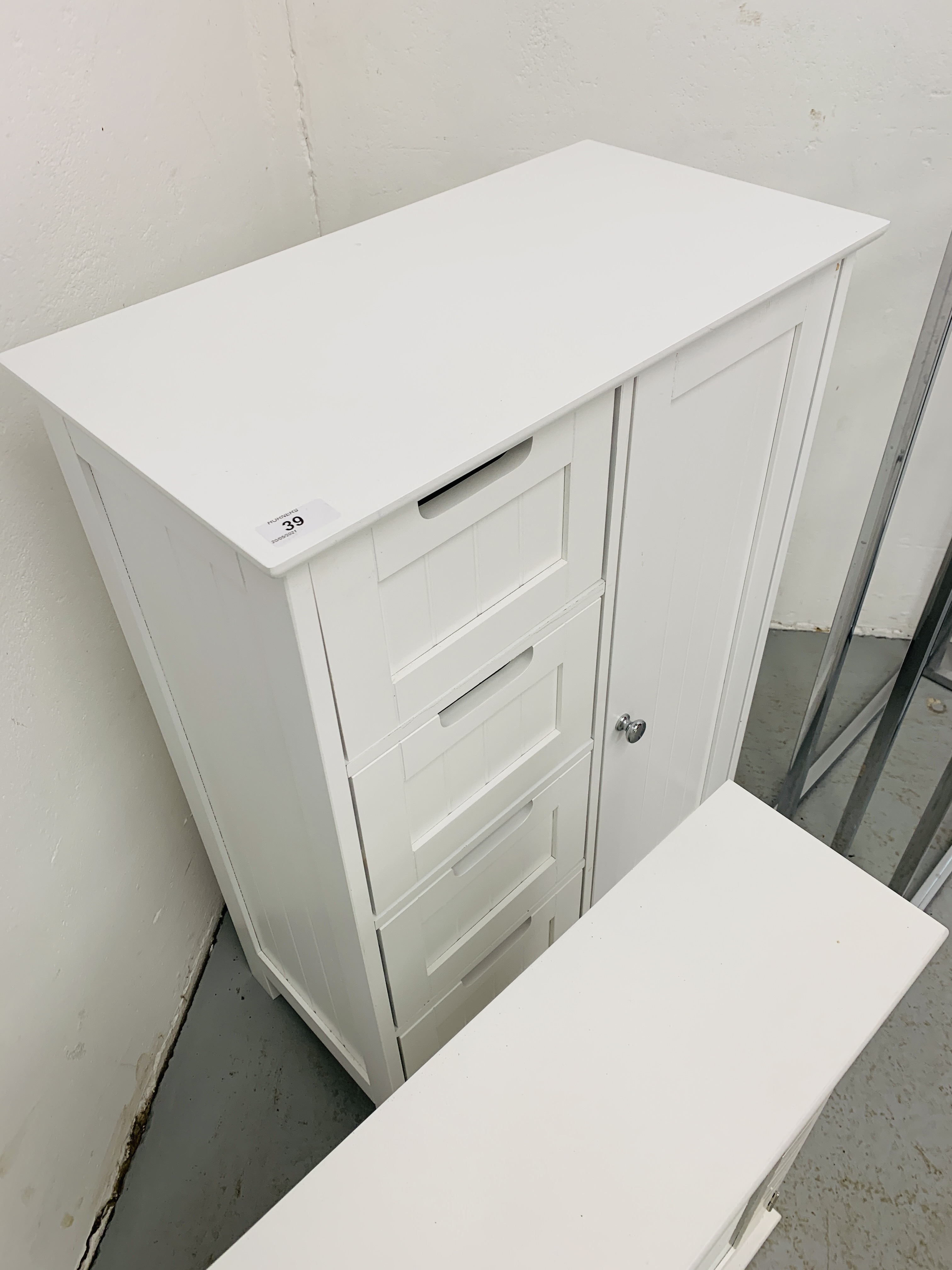A MODERN WHITE FINISH FOUR DRAWER BATHROOM CABINET - W 56CM. D 30CM. H 81CM. - Image 4 of 4