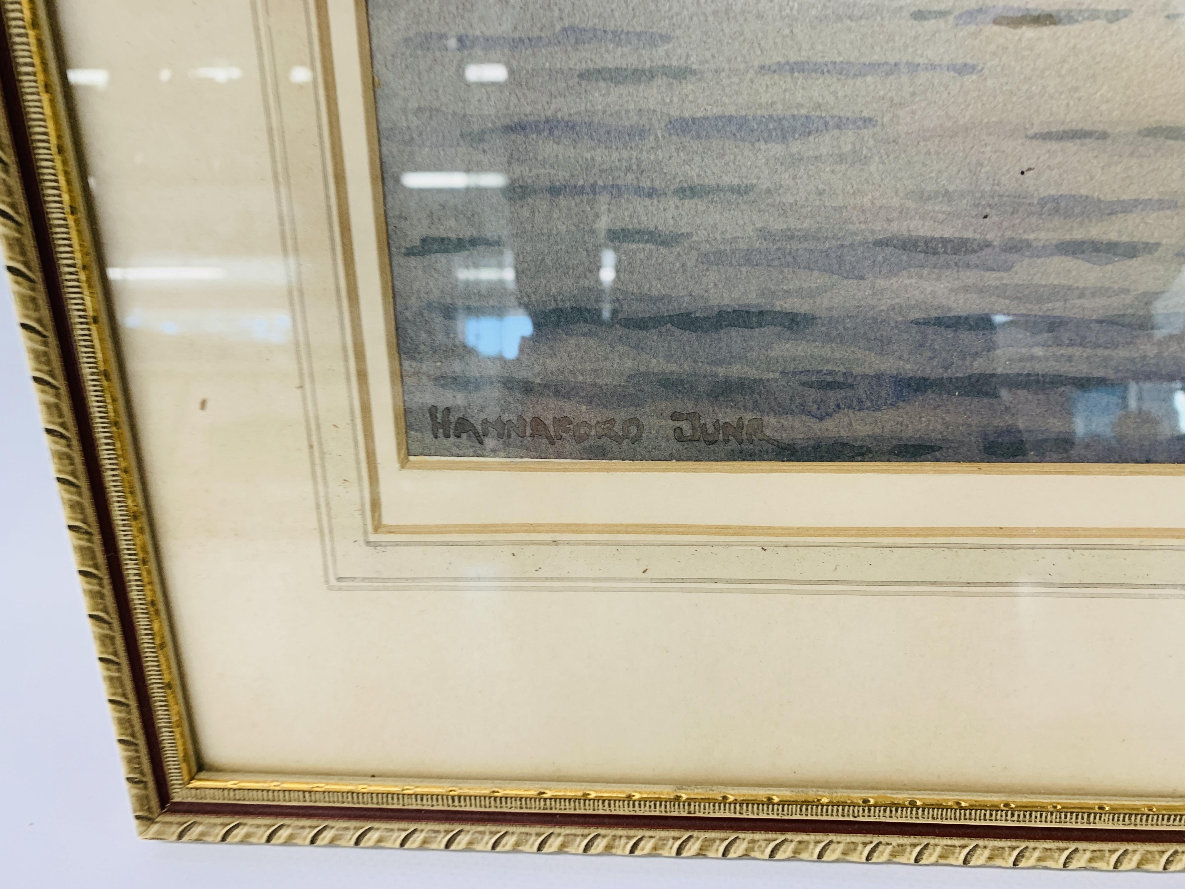 "A FRAMED WATERCOLOUR ""BEYOND REPAIR"" BEARING SIGNATURE HANNAFORD JUNIOR - 33.5 X 42.5 CM. - Image 9 of 11"