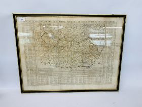 BOWLES MAP OF SUFFOLK AND PART NORFOLK - 59 X 79 CM.