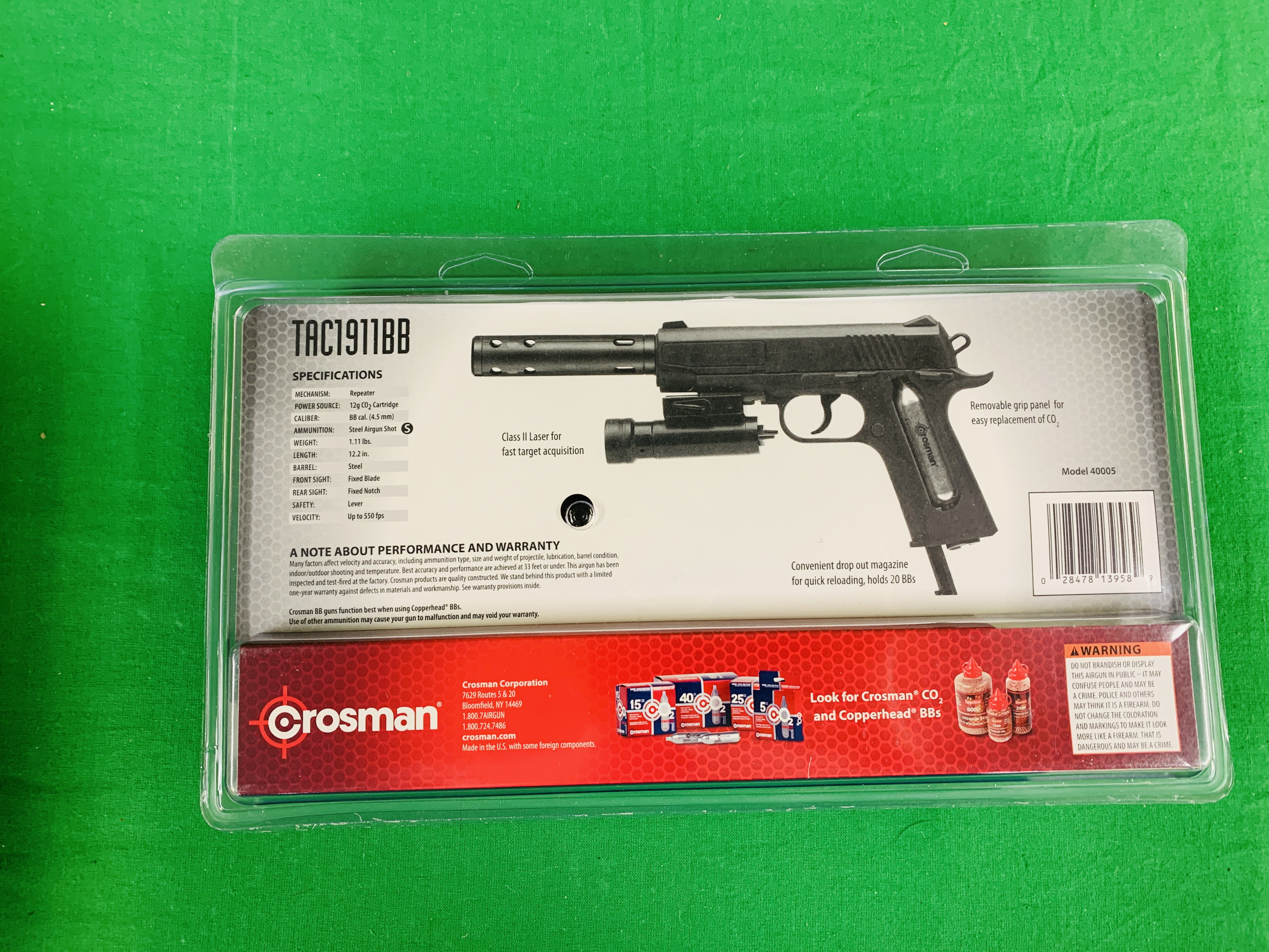 A CROSSMAN TAC SEMI-AUTOMATIC 1911 BB CO² AIR PISTOL WITH LASER BOXED AS NEW - (ALL GUNS TO BE - Image 4 of 4