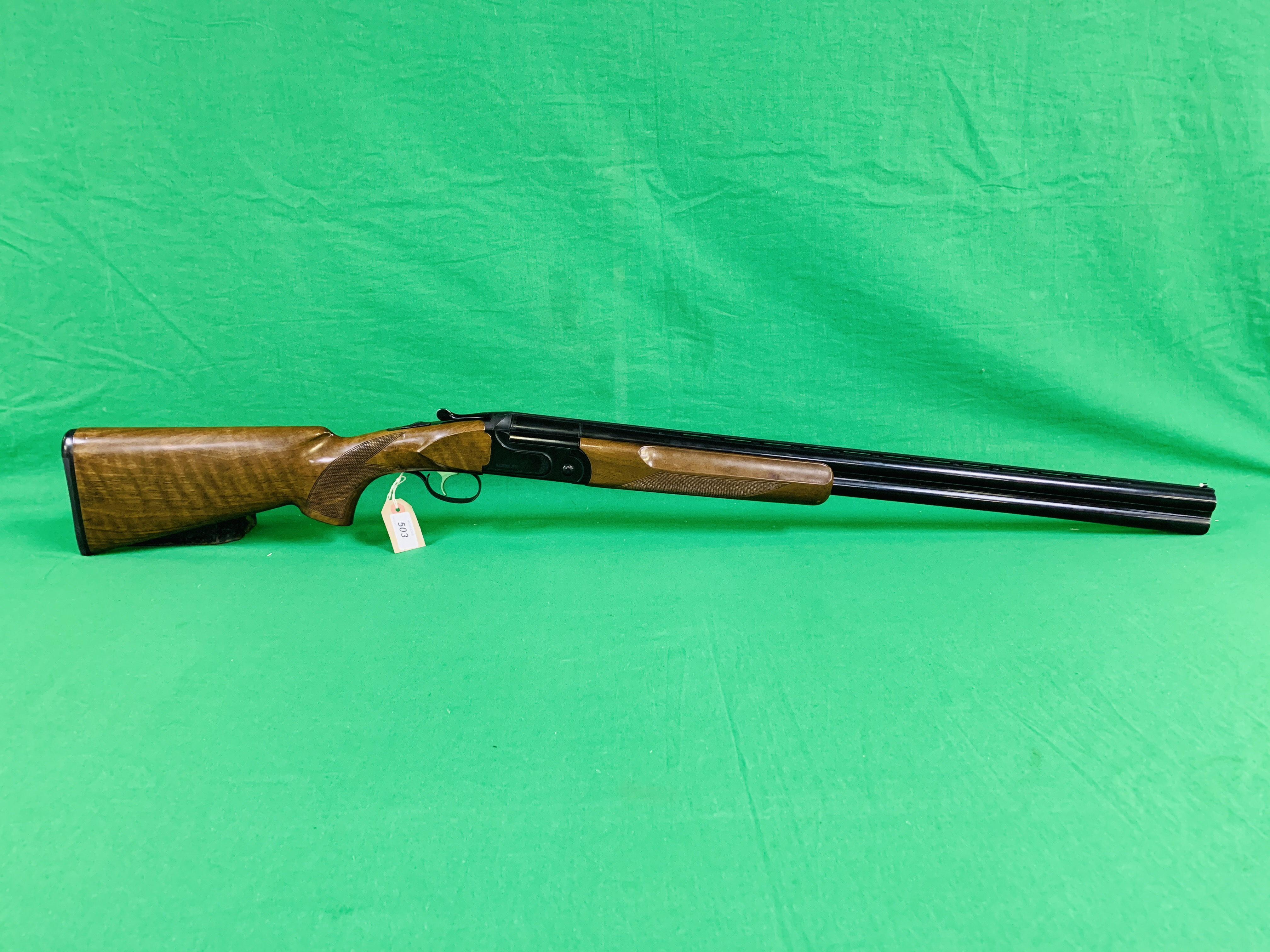 ZAFER MODEL 01612 12 BORE OVER AND UNDER SHOTGUN # 01483, SELECTABLE SINGLE TRIGGER, NON EJECTOR,