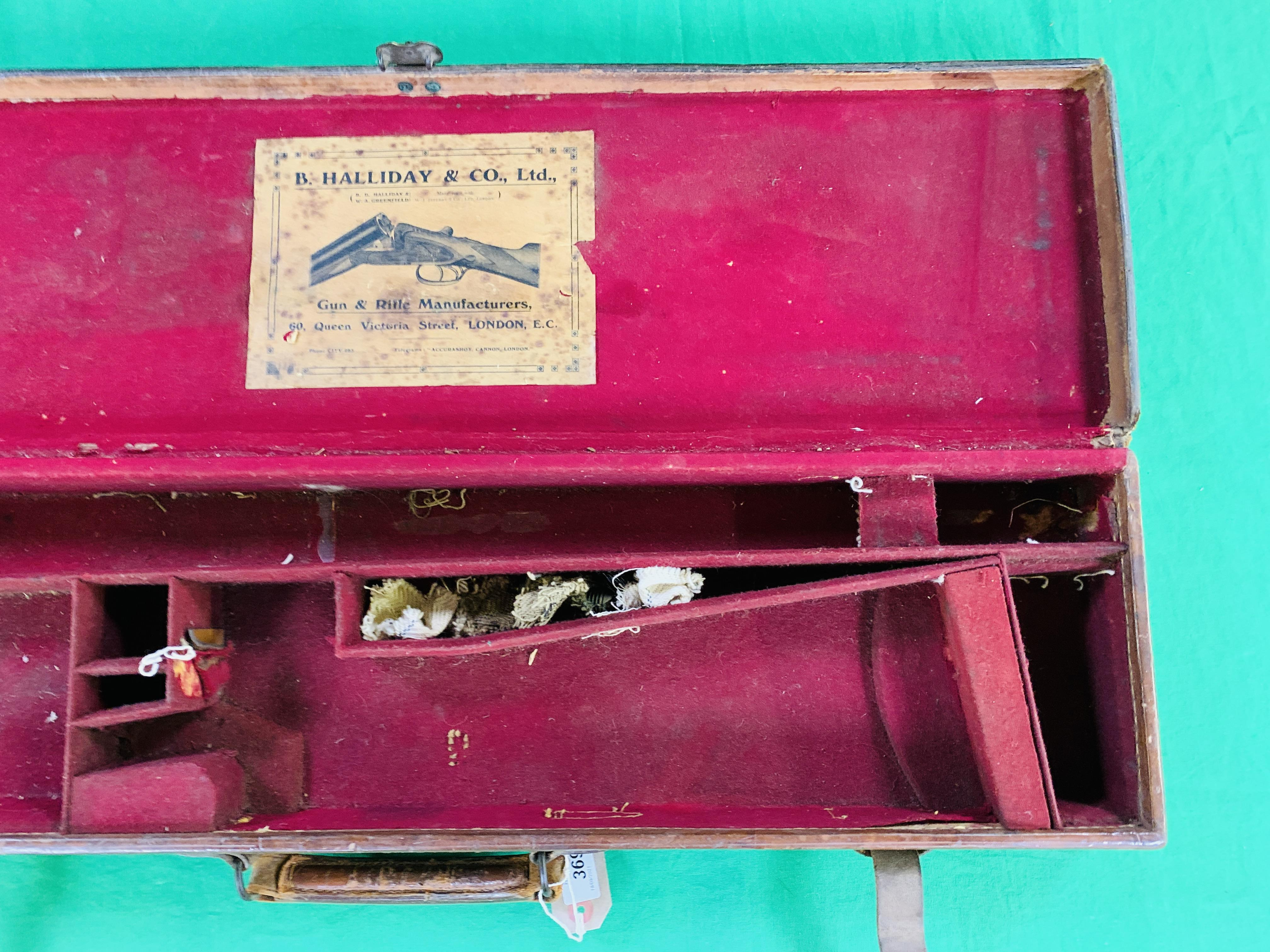"""OAK AND LEATHER 28 / 30"""" SIDE BY SIDE GUN CASE WITH B. HALLIDAY AND CO. LTD OF LONDON CASE LABEL. - Image 4 of 10"""