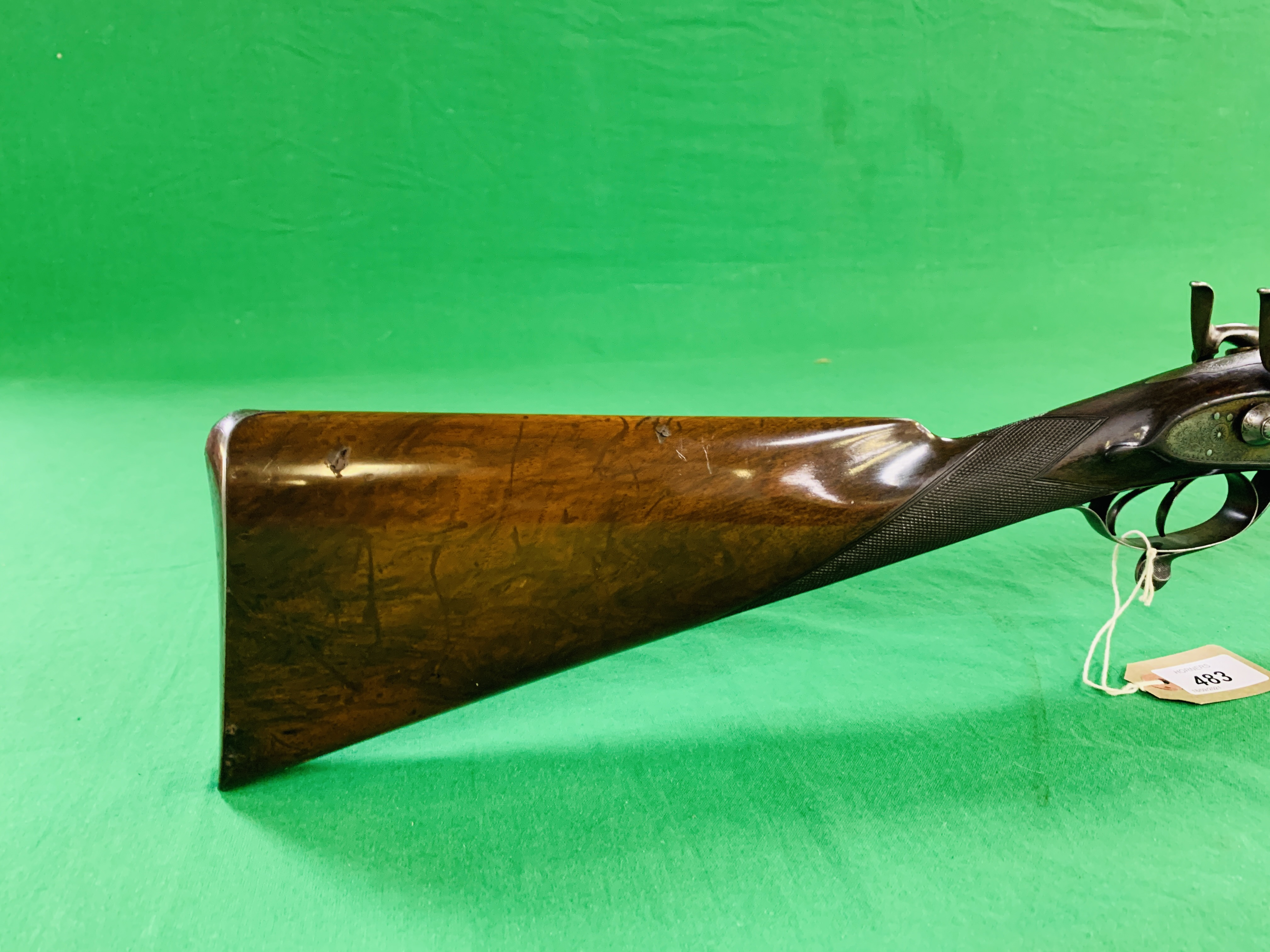SAM WILSON & SON 12 BORE SIDE BY SIDE HAMMER ACTION SHOTGUN, UNDER LEVER ACTION TWIN TRIGGER, - Image 5 of 11