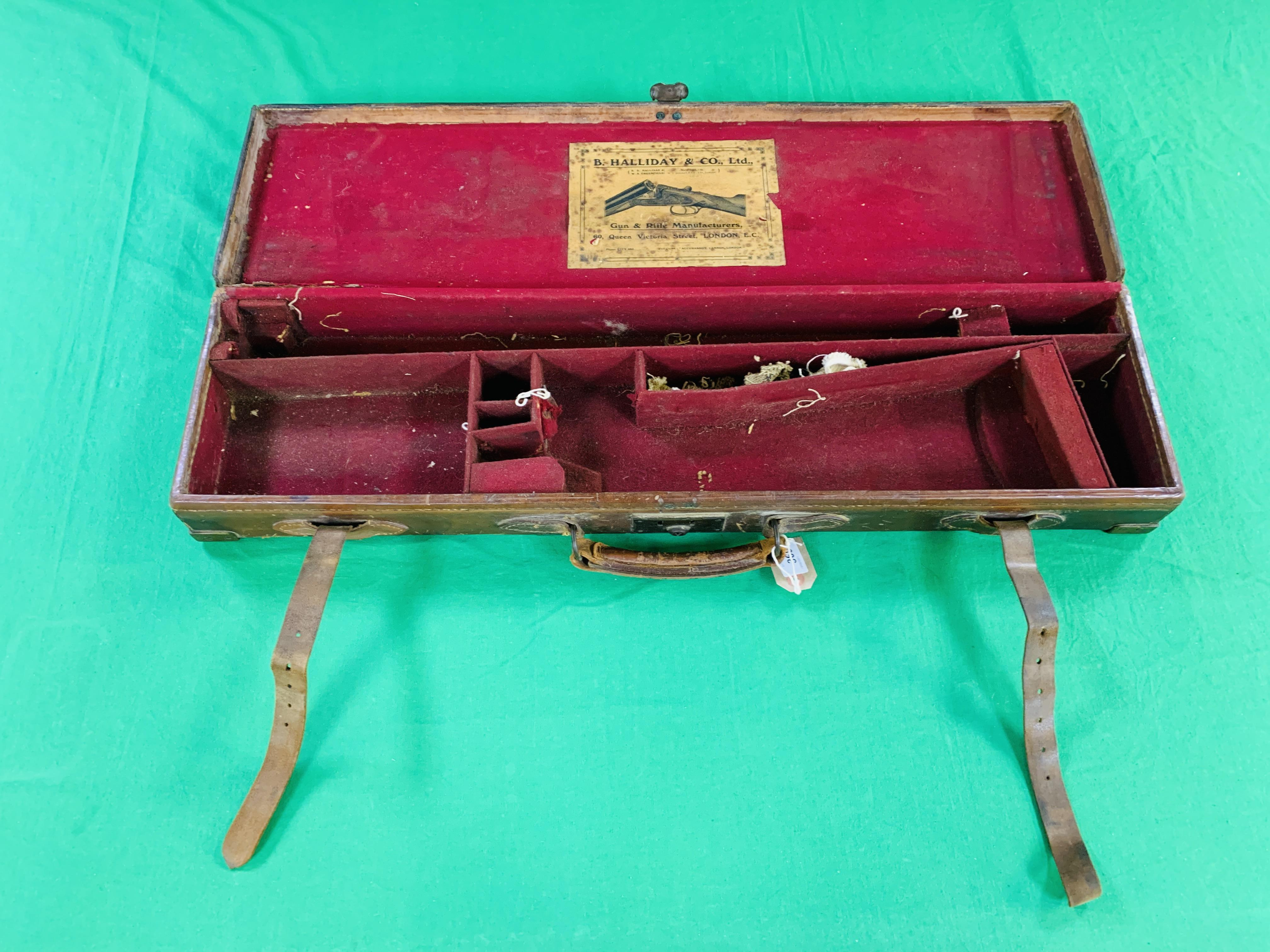 """OAK AND LEATHER 28 / 30"""" SIDE BY SIDE GUN CASE WITH B. HALLIDAY AND CO. LTD OF LONDON CASE LABEL."""