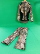 A LADIES SIZE 12 RIVERS WEST CAMO FLEECED JACKET WITH TROUSERS