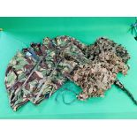A PIGEON MAGNET, 2 HIDE NETS AND 2 CAMOUFLAGE COATS,