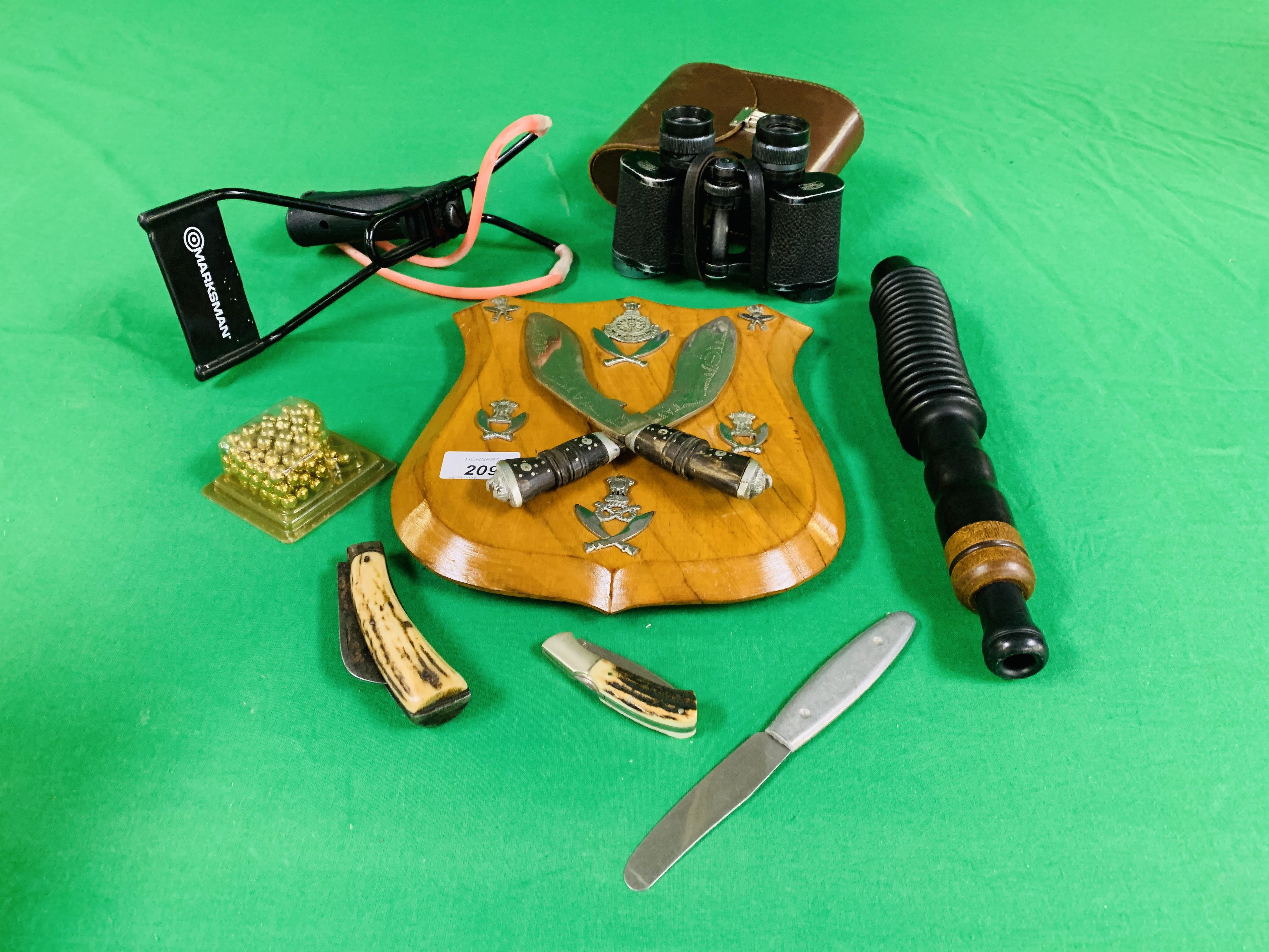 A PAIR OF CARL ZEISS 8 X 30 BINOCULARS, A DUCK CALL, SLINGSHOT & BALL BEARINGS,