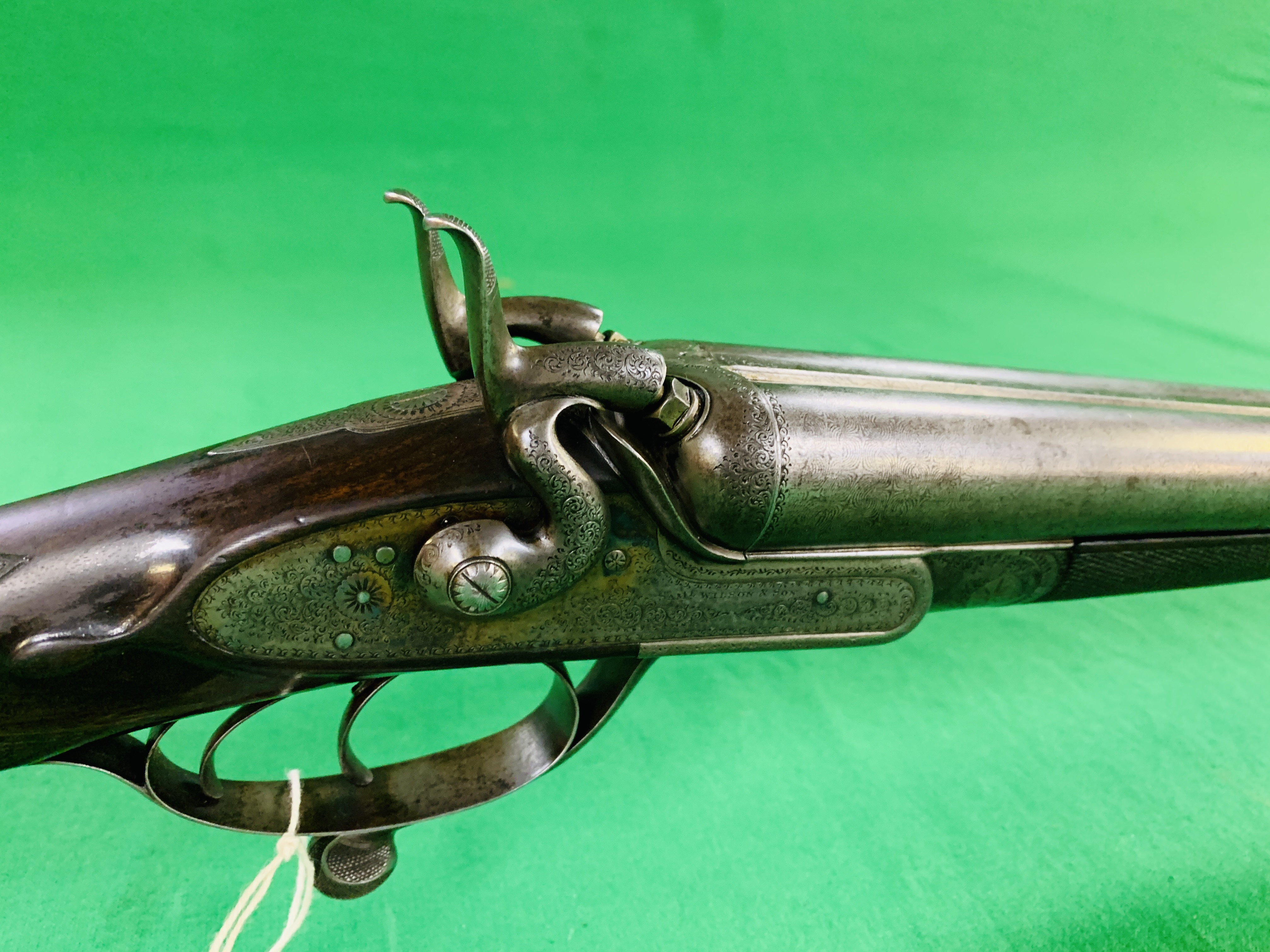 SAM WILSON & SON 12 BORE SIDE BY SIDE HAMMER ACTION SHOTGUN, UNDER LEVER ACTION TWIN TRIGGER, - Image 2 of 11