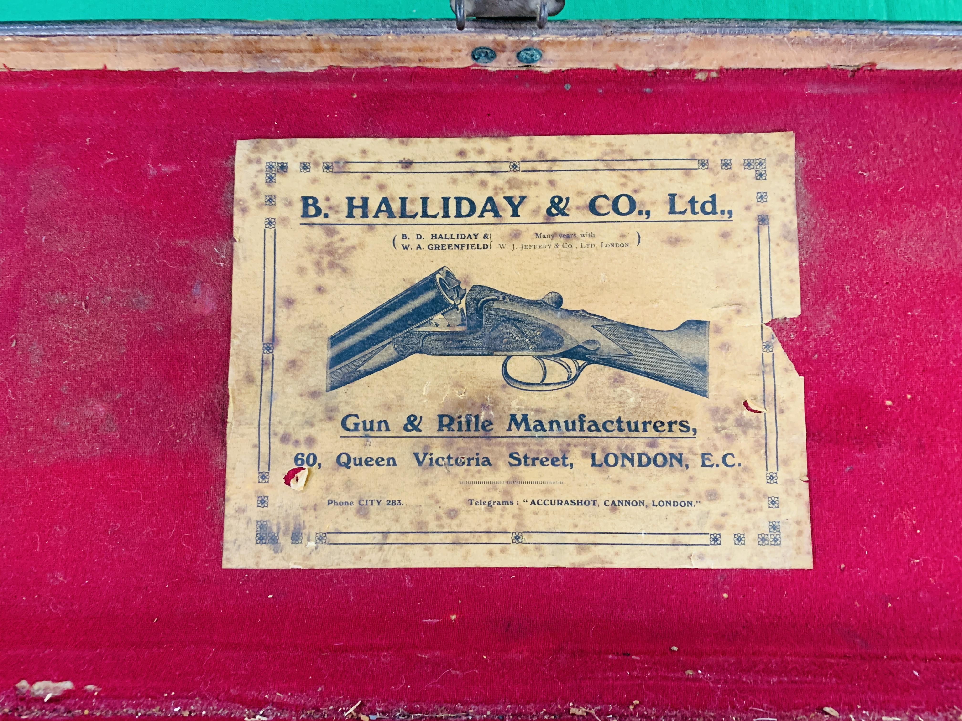 """OAK AND LEATHER 28 / 30"""" SIDE BY SIDE GUN CASE WITH B. HALLIDAY AND CO. LTD OF LONDON CASE LABEL. - Image 2 of 10"""