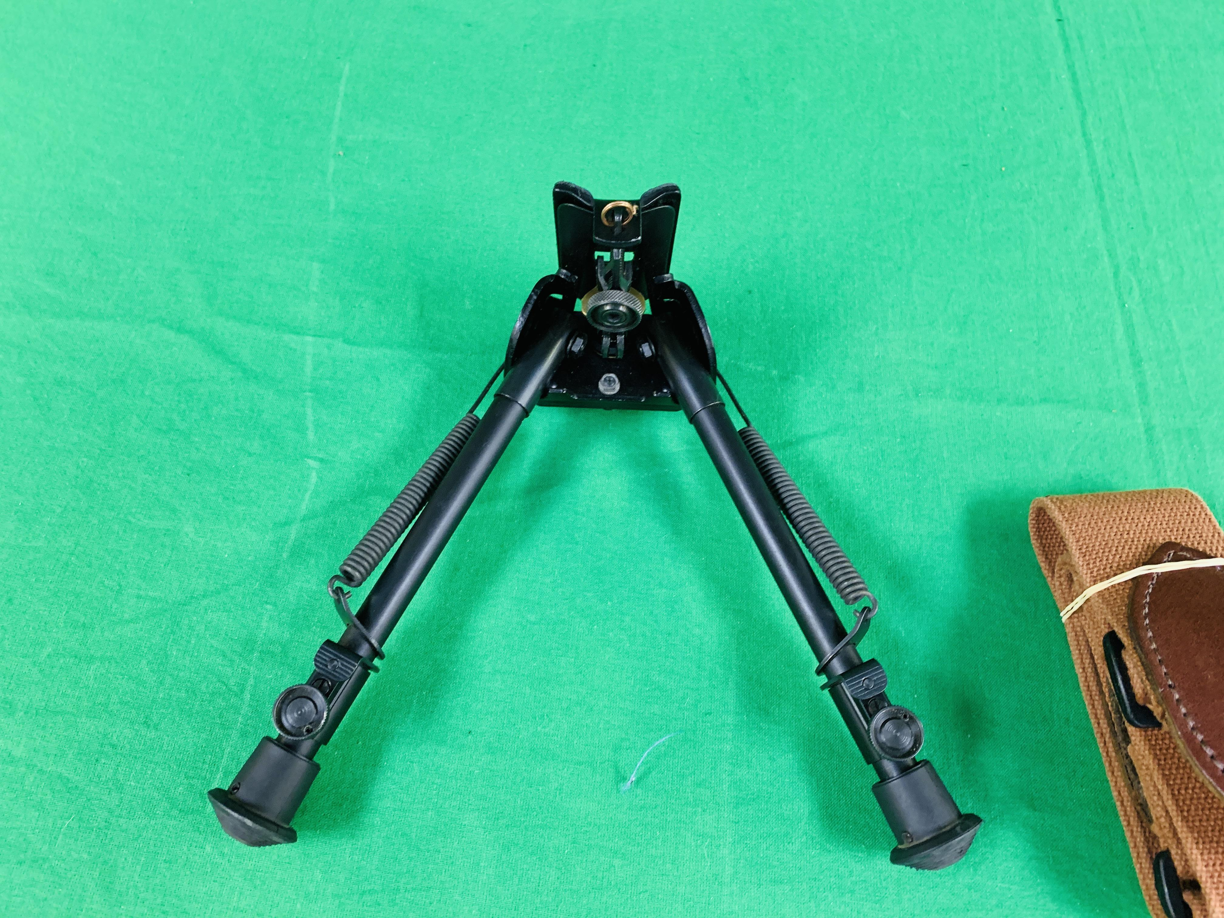A HARRIS 30CM BIPOD NON STEP LOCKING ALONG WITH A CANVAS RIFLE SLING - Image 4 of 5