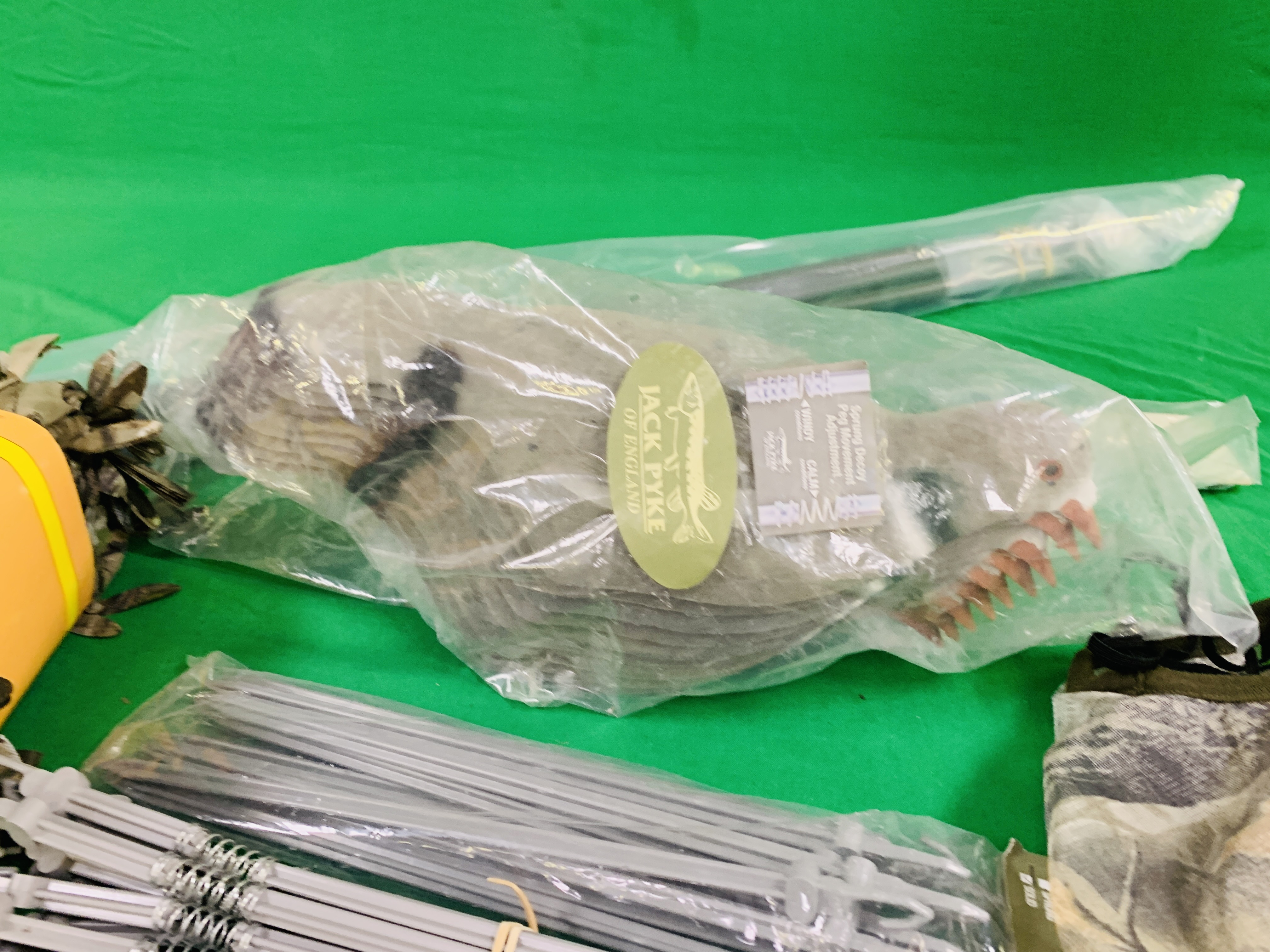 A COLLECTION OF JACK PYKE SPRING DECOY PIGEONS (9) WITH PEGS, - Image 5 of 8