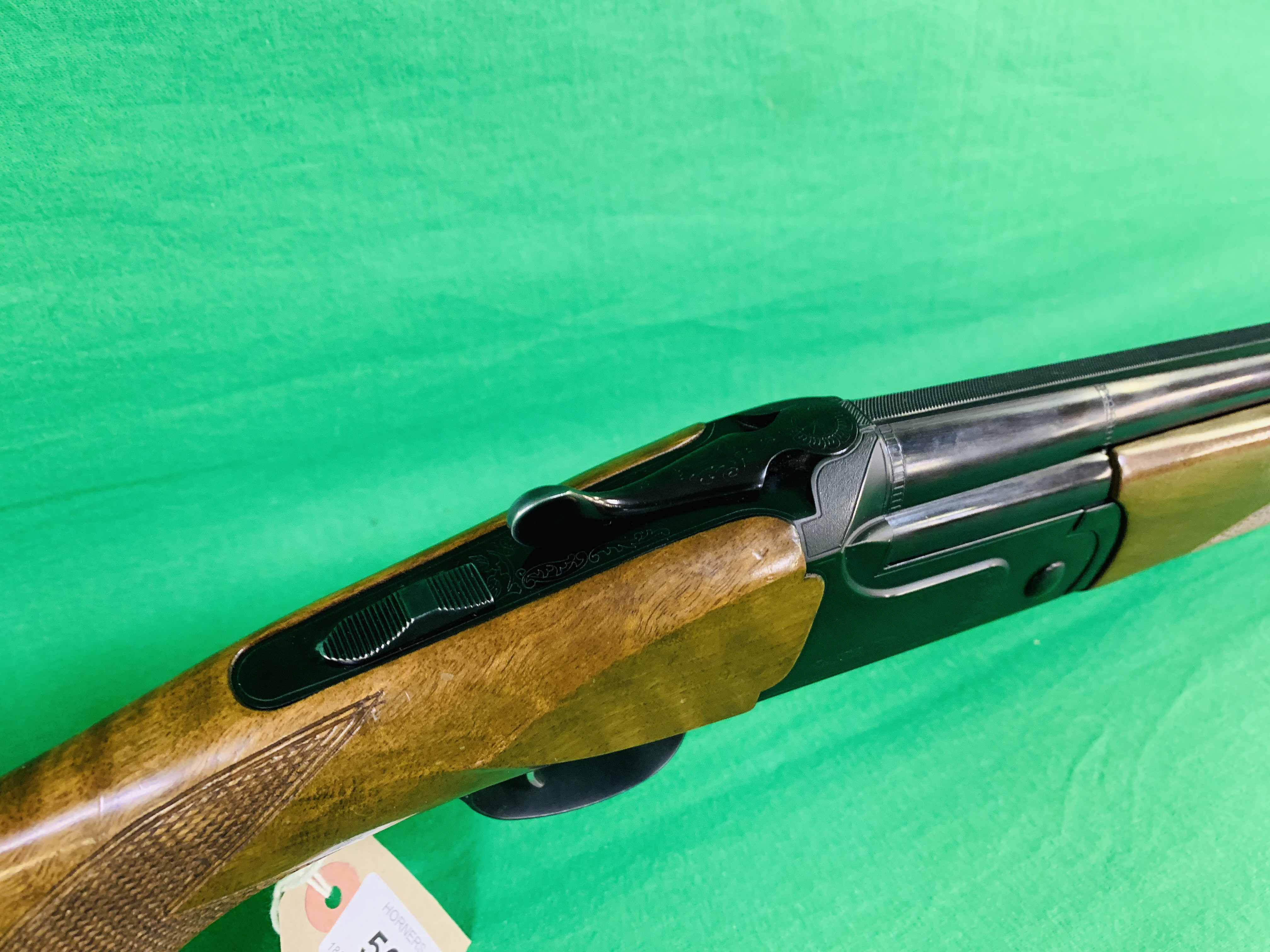 ZAFER MODEL 01612 12 BORE OVER AND UNDER SHOTGUN # 01483, SELECTABLE SINGLE TRIGGER, NON EJECTOR, - Image 2 of 8