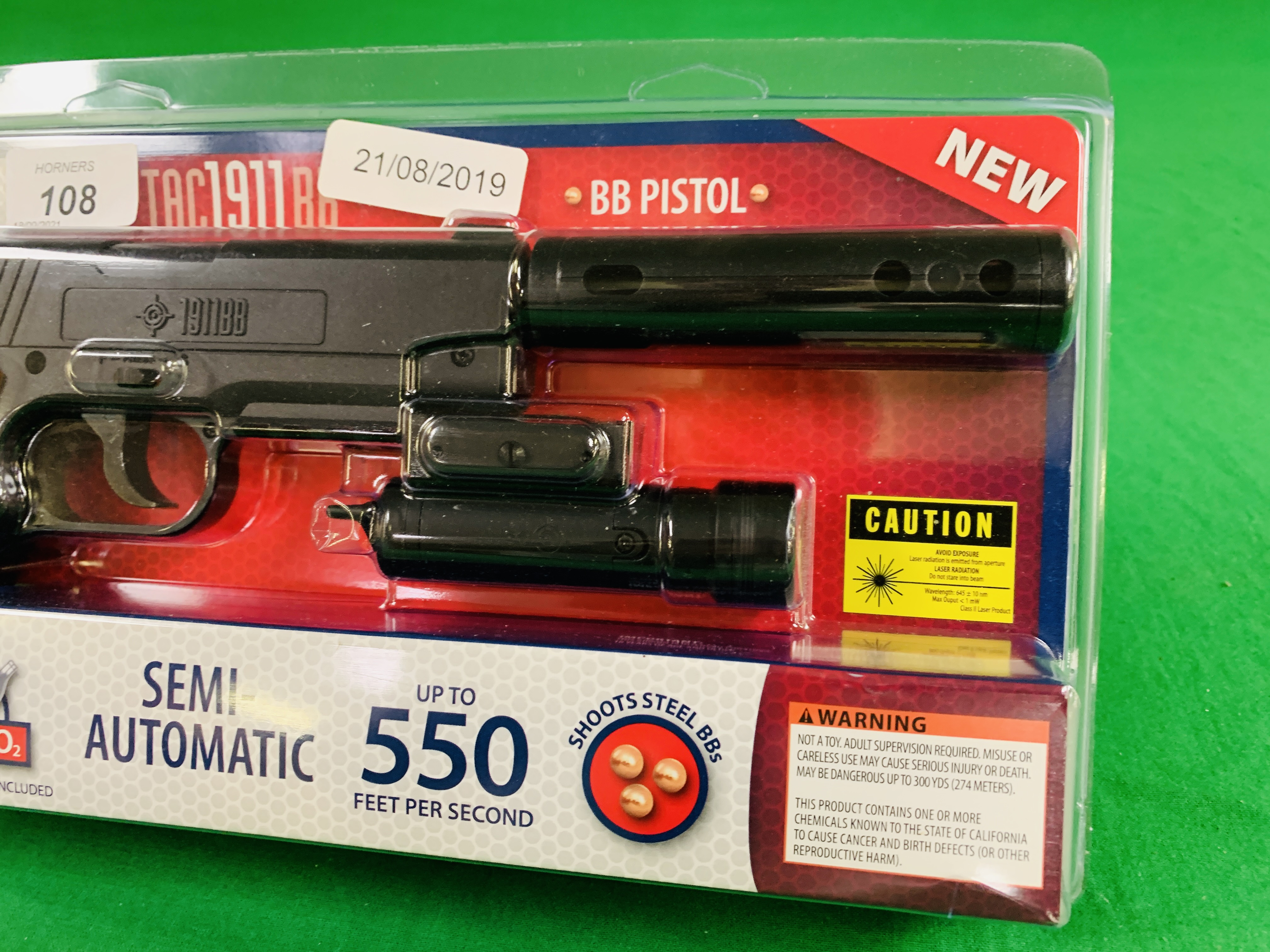 A CROSSMAN TAC SEMI-AUTOMATIC 1911 BB CO² AIR PISTOL WITH LASER BOXED AS NEW - (ALL GUNS TO BE - Image 3 of 4