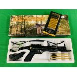 A MX-80 SELF COCKING ALUMINIUM PISTOL CROSSBOW COMPLETE WITH BOLTS BOXED AS NEW - (ALL GUNS TO BE