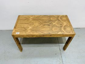 A C20TH BRAZILIAN ROSEWOOD SIDE TABLE WITH GLASS TIER BELOW L 75CM, W 38CM,