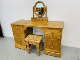 WAXED PINE SIX DRAWER DRESSING TABLE ALONG WITH A DRESSING MIRROR AND STOOL