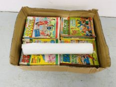 """BOX OF VINTAGE """"ROY OF THE ROVERS"""" MAGAZINES AND A POSTER"""