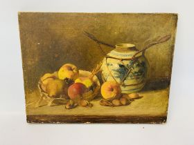 STILL LIFE STUDY OF FRUIT AND VASE INDISTINCT SIGNATURE OIL ON CANVAS (UNFRAMED) 33 X 44CM