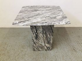TWO MODERN DESIGNER MARBLE PEDESTAL OCC TABLES - COFFEE TABLE 120 X 70CM AND LAMP TABLE 56 X 56CM