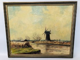"""FRAMED OIL ON BOARD """"THURNE MILL"""" BEARING SIGNATURE H."""
