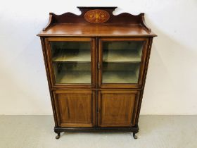 EDWARDIAN INLAID DISPLAY CABINET 4 DOORS TOP TWO GLAZED (KEY WITH AUCTIONEER) W 92CM, D 39CM,