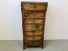 C19 FRENCH KINGWOOD AND INLAID SECRETAIRE ABATTANT WITH FITTED INTERIOR, WITH GILT METAL MOUNTS,