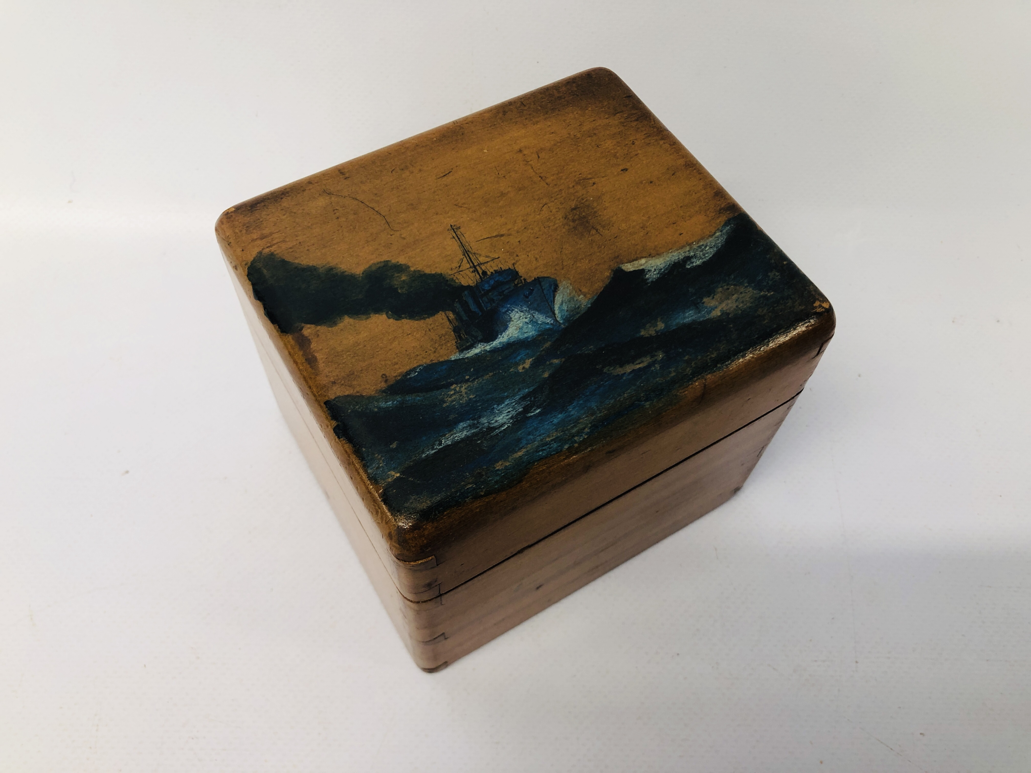 VINTAGE WOODEN TEA CADDY WITH HANDPAINTED SHIPPING SCENE, H.M. - Image 13 of 16