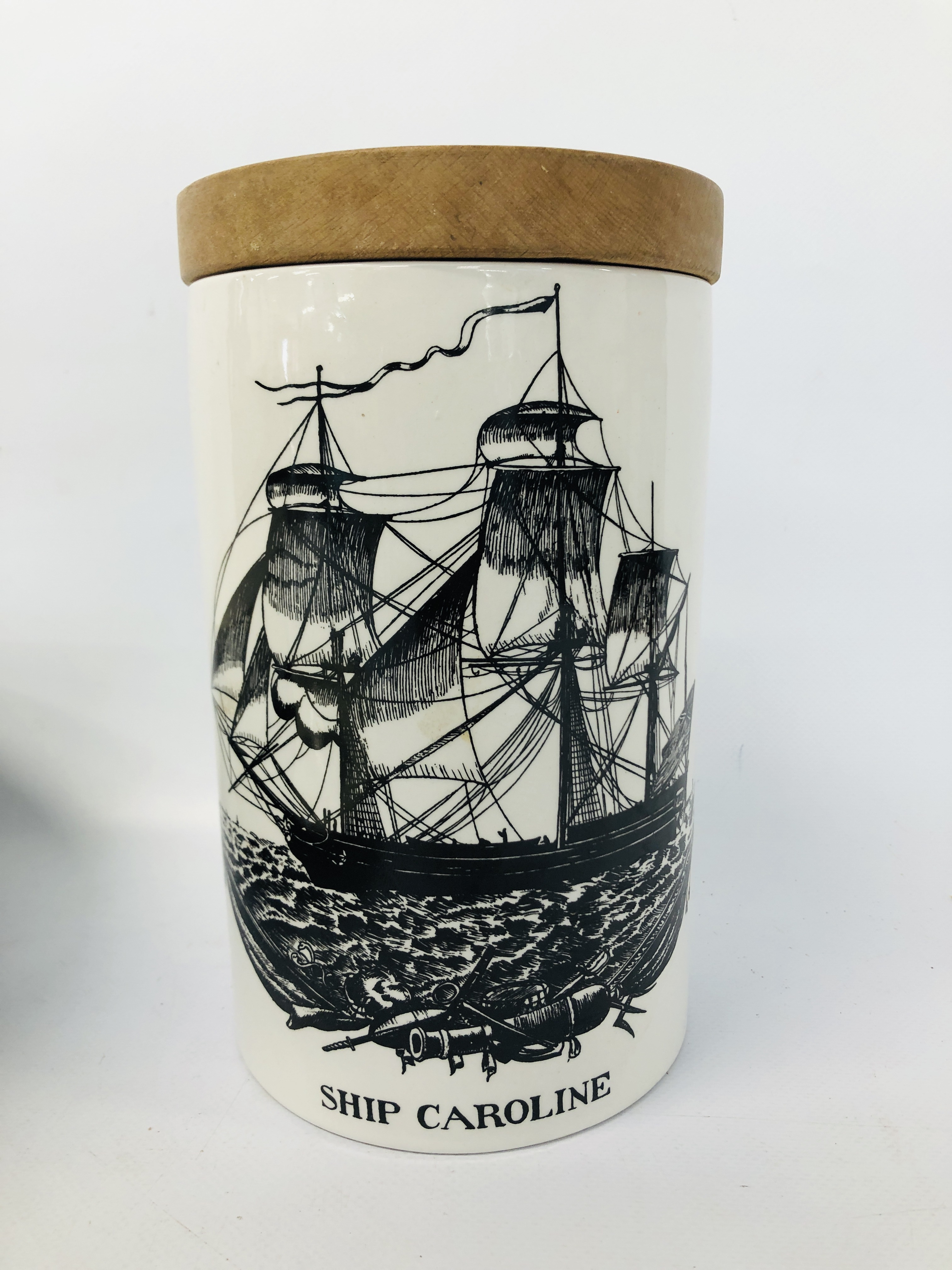 VINTAGE WOODEN TEA CADDY WITH HANDPAINTED SHIPPING SCENE, H.M. - Image 2 of 16