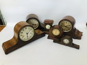 A COLLECTION OF 6 MANTEL CLOCKS TO INCLUDE WESTMINSTER CHIME,