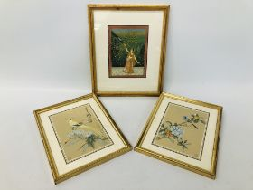 """FRAMED INDIAN SCHOOL MUGHAL H 17CM X W 13CM WITH A PAIR OF FRAMED CHINESE HANDPAINTED SILKS """"EXOTIC"""