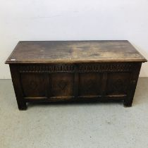 VINTAGE HEAVY OAK COFFER WITH LINEN FOLD DETAIL (KEY WITH AUCTIONEER) W 144CM, H 66CM,