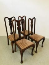 A SET OF FOUR QUEEN ANNE STYLE STRING BACK DINING CHAIRS WITH UPHOLSTERED SEATS