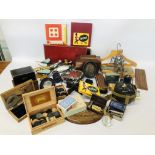 BOX OF ASSORTED VINTAGE COLLECTABLE'S TO INCLUDE MAHOGANY TEA CADDY, GAMES MIRRORS, HANGERS,