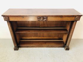 PERIOD MAHOGANY 2 DRAWER BOOKCASE WITH COLUMN SUPPORTS, CENTRAL CREST (SOME LOSES) W 137CM, H 92CM,