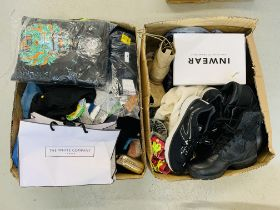 TWO BOXES CONTAINING MAINLY AS NEW CLOTHING, FOOTWEAR AND BAGS TO INCLUDE WHITE STUFF SKIRT,