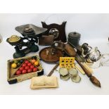 BOX OF ASSORTED COLLECTABLE'S TO INCLUDE VINTAGE WATERING BRASS CAN, SLIDE VIEW,