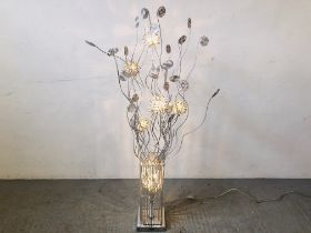 A MODERN DESIGNER CHROME FINISH ROOM LAMP WITH FLOWER HEAD STYLE SHADES - SOLD AS SEEN