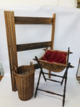 VINTAGE LINEN HORSE ALONG WITH A WICKER BASKET AND FOLDING VINTAGE SEWING BASKET ON WOODEN LEGS