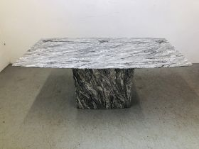 A MODERN DESIGNER MARBLE DINING TABLE ON SINGLE PEDESTAL